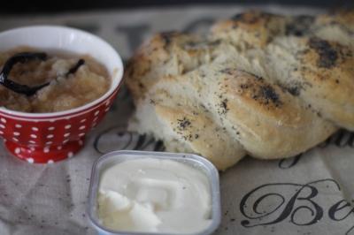 Homemade bread and apple jam